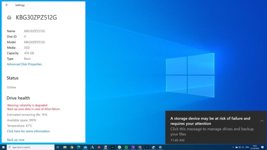 Windows 10 will monitor your NVMe SSD to prevent catastrophic failures